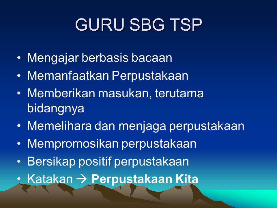 GURU SBG TSP Mengajar berbasis bacaan Memanfaatkan Perpustakaan Memberikan masukan, terutama bidangnya Memelihara dan menjaga perpustakaan Mempromosik