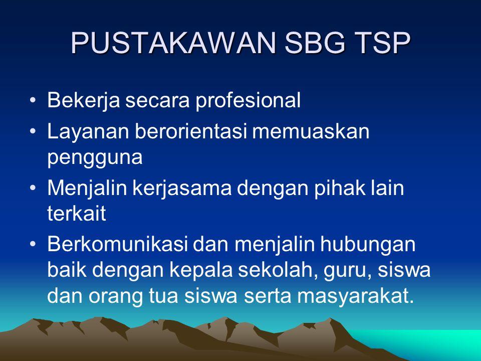 PUSTAKAWAN SBG TSP Bekerja secara profesional Layanan berorientasi memuaskan pengguna Menjalin kerjasama dengan pihak lain terkait Berkomunikasi dan m