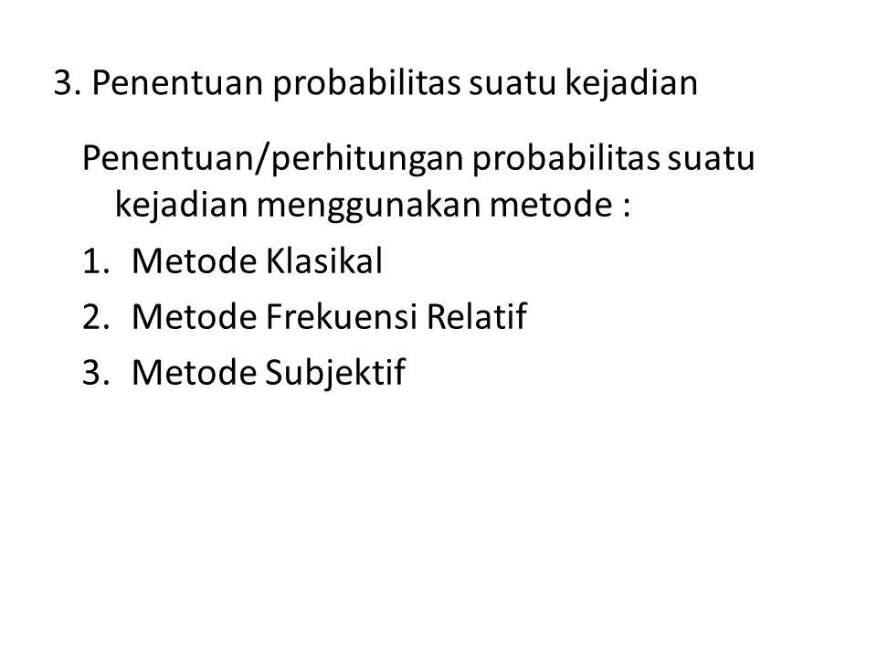 3. Penentuan probabilitas suatu kejadian Penentuan/perhitungan probabilitas suatu kejadian menggunakan metode : 1.Metode Klasikal 2.Metode Frekuensi R