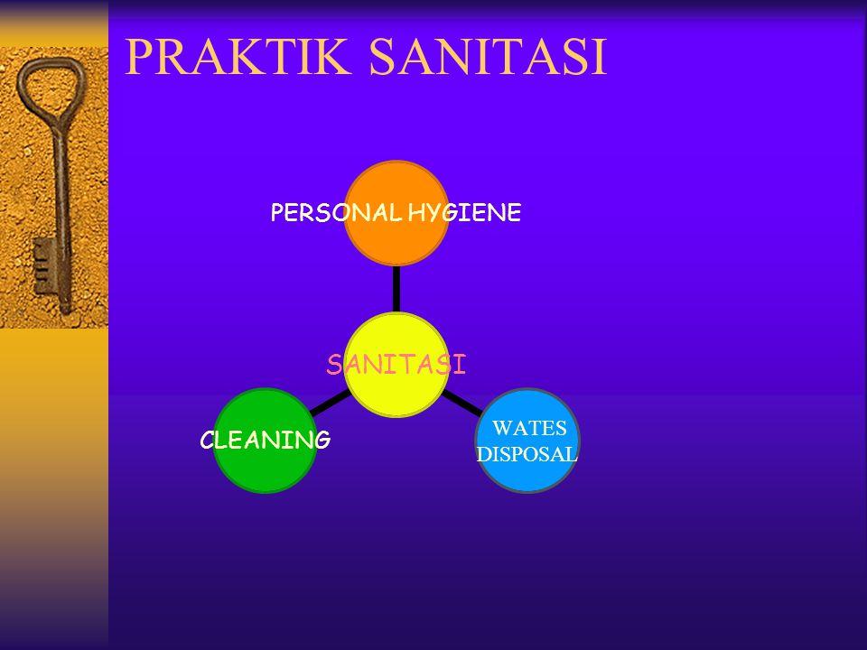 CLEANING: Waktu Suhu Konsentrasi larutan yg dipakai Perlakuan mekanis Dilakukan : Didalam area proses Diluar area proses