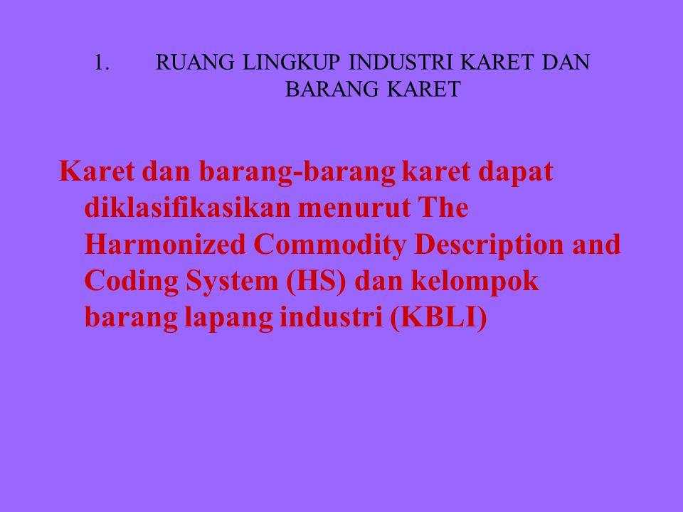 1.RUANG LINGKUP INDUSTRI KARET DAN BARANG KARET Karet dan barang-barang karet dapat diklasifikasikan menurut The Harmonized Commodity Description and