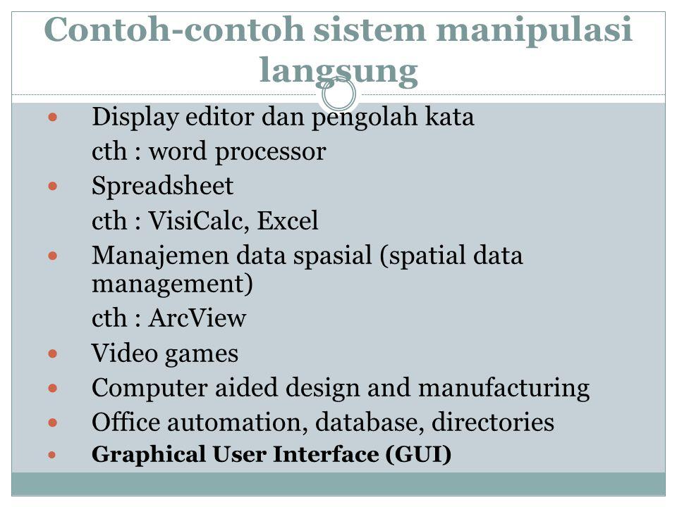 Contoh-contoh sistem manipulasi langsung Display editor dan pengolah kata cth : word processor Spreadsheet cth : VisiCalc, Excel Manajemen data spasia