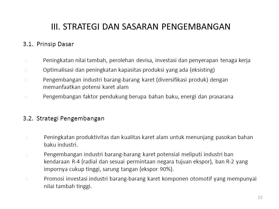 13 1. Peningkatan produktivitas dan kualitas karet alam untuk menunjang pasokan bahan baku industri. 2. Pengembangan industri barang-barang karet pote