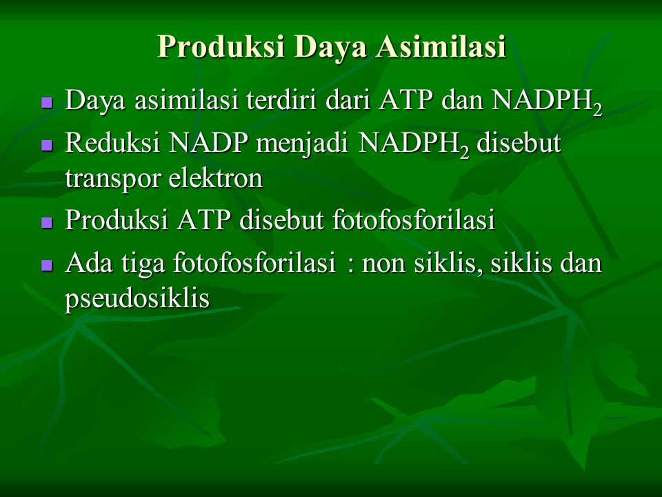 Produksi Daya Asimilasi Daya asimilasi terdiri dari ATP dan NADPH 2 Daya asimilasi terdiri dari ATP dan NADPH 2 Reduksi NADP menjadi NADPH 2 disebut t