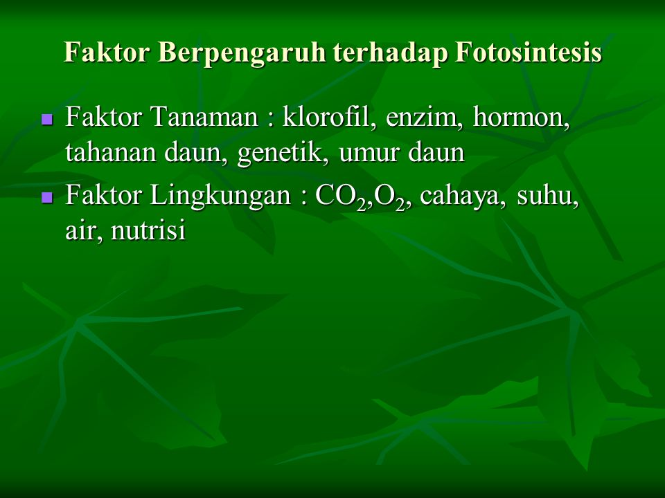 Faktor Berpengaruh terhadap Fotosintesis Faktor Tanaman : klorofil, enzim, hormon, tahanan daun, genetik, umur daun Faktor Tanaman : klorofil, enzim,