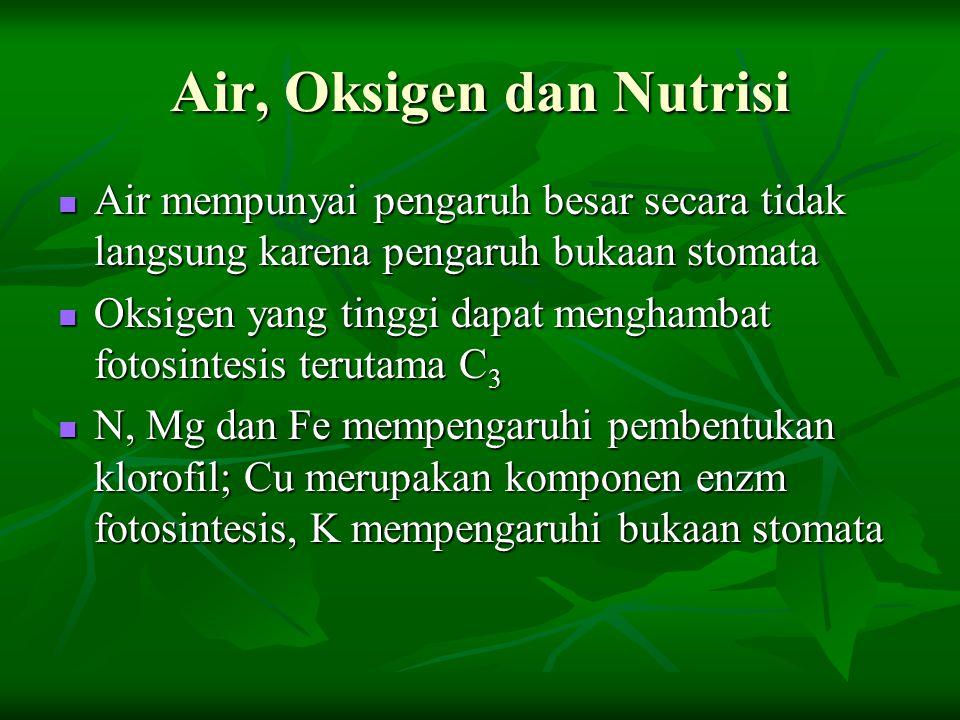 Air, Oksigen dan Nutrisi Air mempunyai pengaruh besar secara tidak langsung karena pengaruh bukaan stomata Air mempunyai pengaruh besar secara tidak l