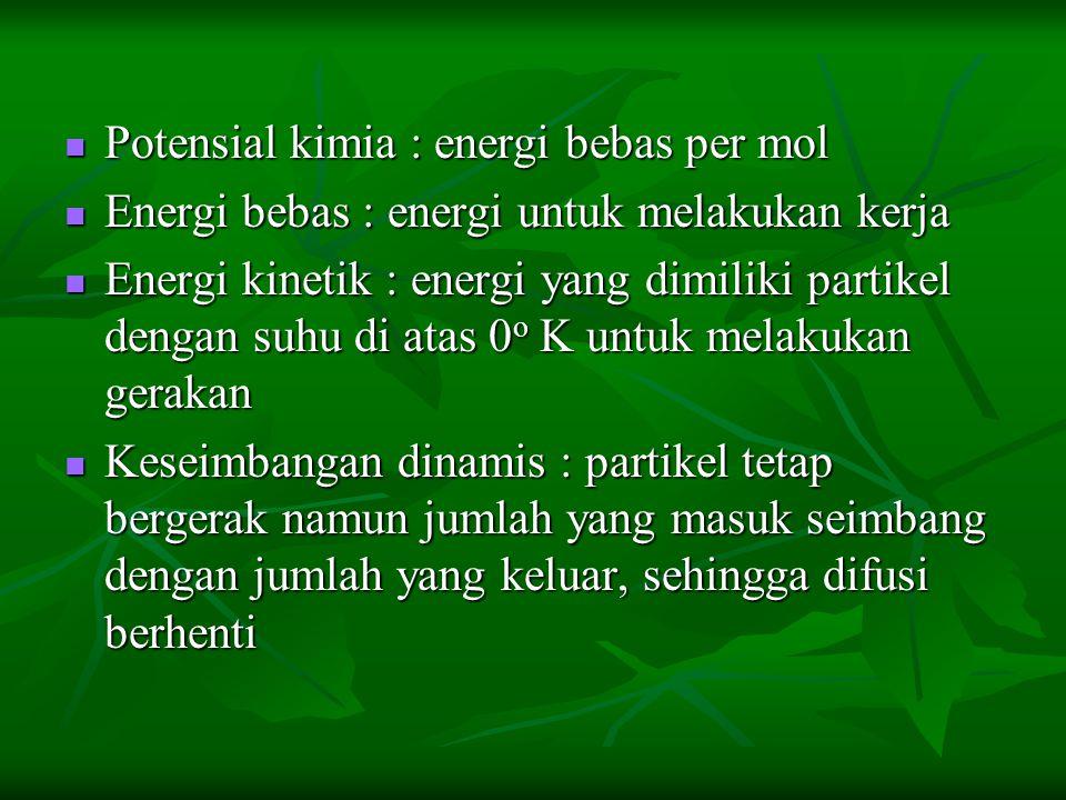 Potensial kimia : energi bebas per mol Potensial kimia : energi bebas per mol Energi bebas : energi untuk melakukan kerja Energi bebas : energi untuk