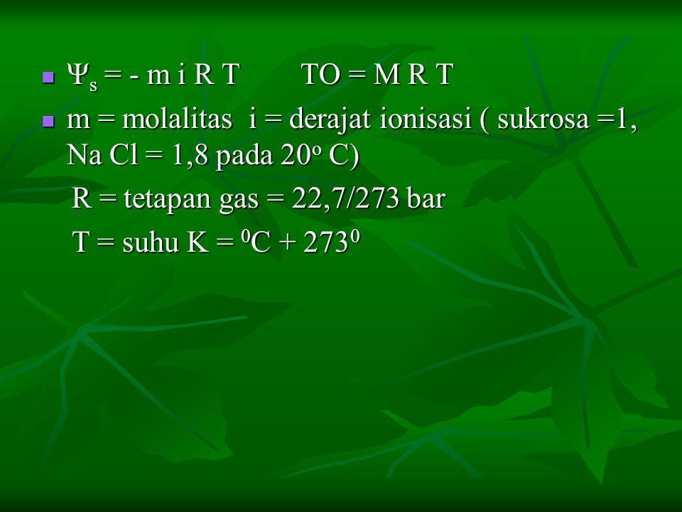 Ψ s = - m i R T TO = M R T Ψ s = - m i R T TO = M R T m = molalitas i = derajat ionisasi ( sukrosa =1, Na Cl = 1,8 pada 20 o C) m = molalitas i = dera