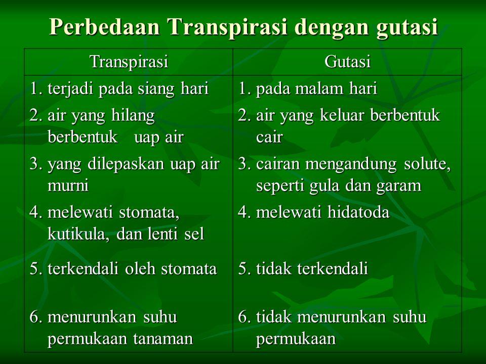 Perbedaan Transpirasi dengan gutasi TranspirasiGutasi 1. terjadi pada siang hari 1. pada malam hari 2. air yang hilang berbentuk uap air 2. air yang k