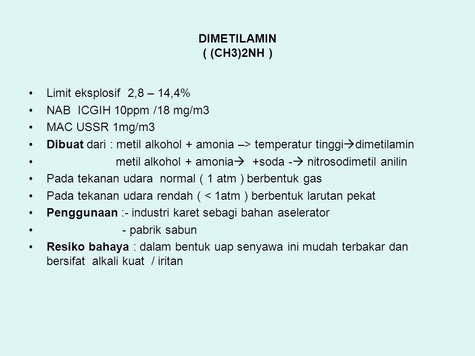 DIMETILAMIN ( (CH3)2NH ) Limit eksplosif 2,8 – 14,4% NAB ICGIH 10ppm /18 mg/m3 MAC USSR 1mg/m3 Dibuat dari : metil alkohol + amonia –> temperatur ting