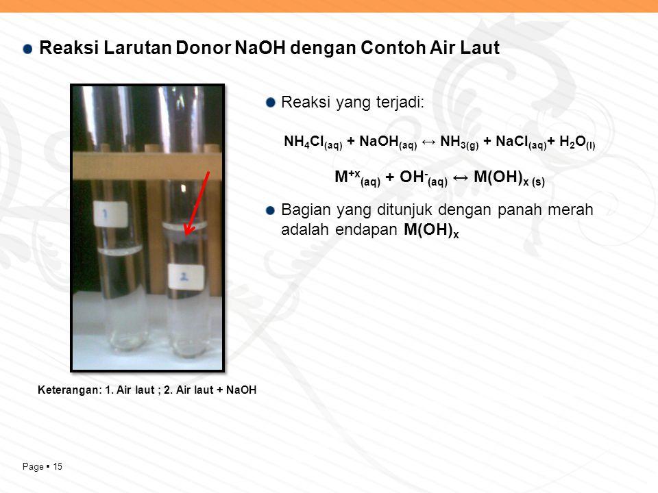Page  15 Reaksi Larutan Donor NaOH dengan Contoh Air Laut Keterangan: 1. Air laut ; 2. Air laut + NaOH Reaksi yang terjadi: NH 4 Cl (aq) + NaOH (aq)
