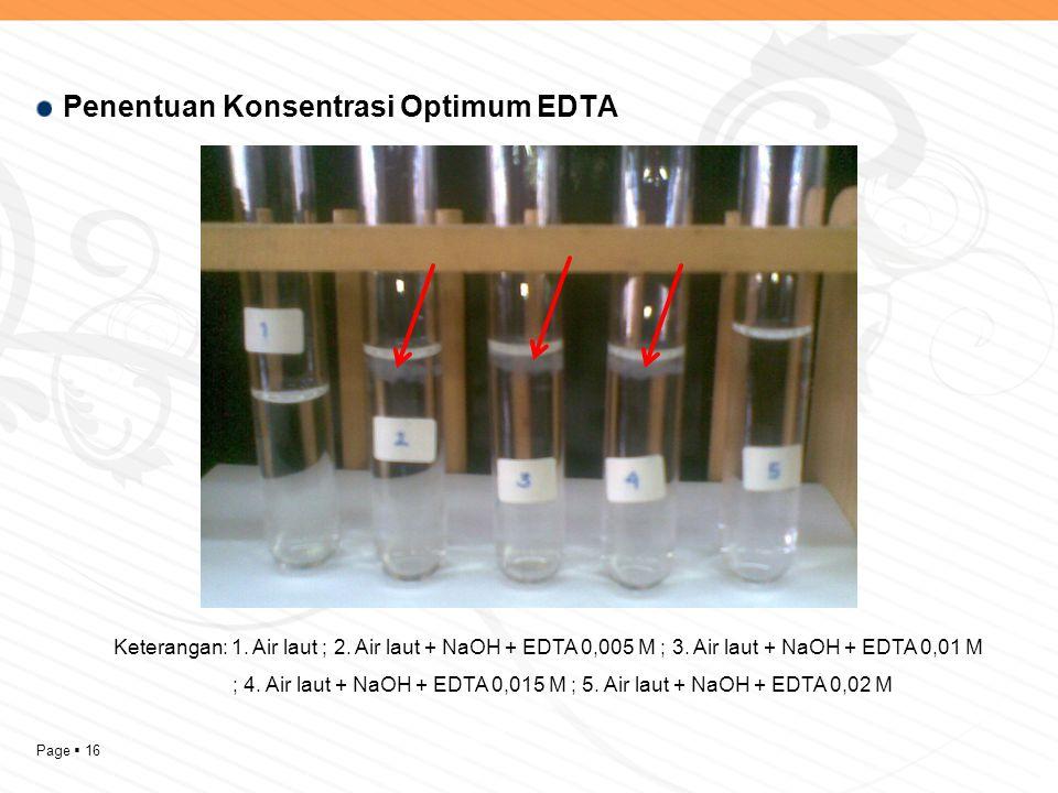 Page  16 Penentuan Konsentrasi Optimum EDTA Keterangan: 1. Air laut ; 2. Air laut + NaOH + EDTA 0,005 M ; 3. Air laut + NaOH + EDTA 0,01 M ; 4. Air l