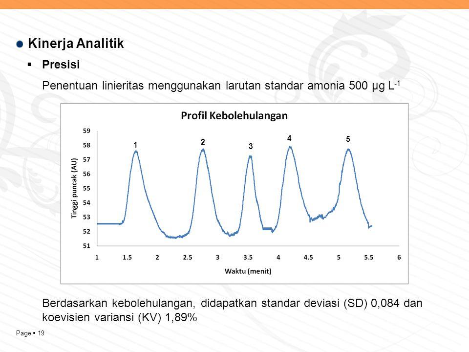 Page  19 Kinerja Analitik  Presisi Penentuan linieritas menggunakan larutan standar amonia 500 µg L -1 Berdasarkan kebolehulangan, didapatkan standar deviasi (SD) 0,084 dan koevisien variansi (KV) 1,89% 1 2 3 5 4