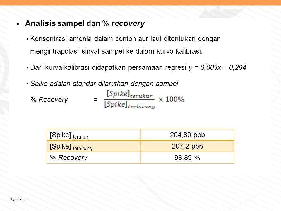Page  22  Analisis sampel dan % recovery Konsentrasi amonia dalam contoh aur laut ditentukan dengan mengintrapolasi sinyal sampel ke dalam kurva kal