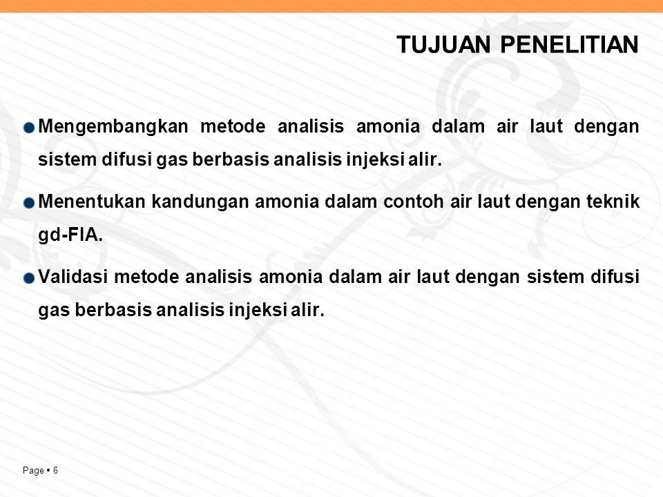 Page  6 TUJUAN PENELITIAN Mengembangkan metode analisis amonia dalam air laut dengan sistem difusi gas berbasis analisis injeksi alir.