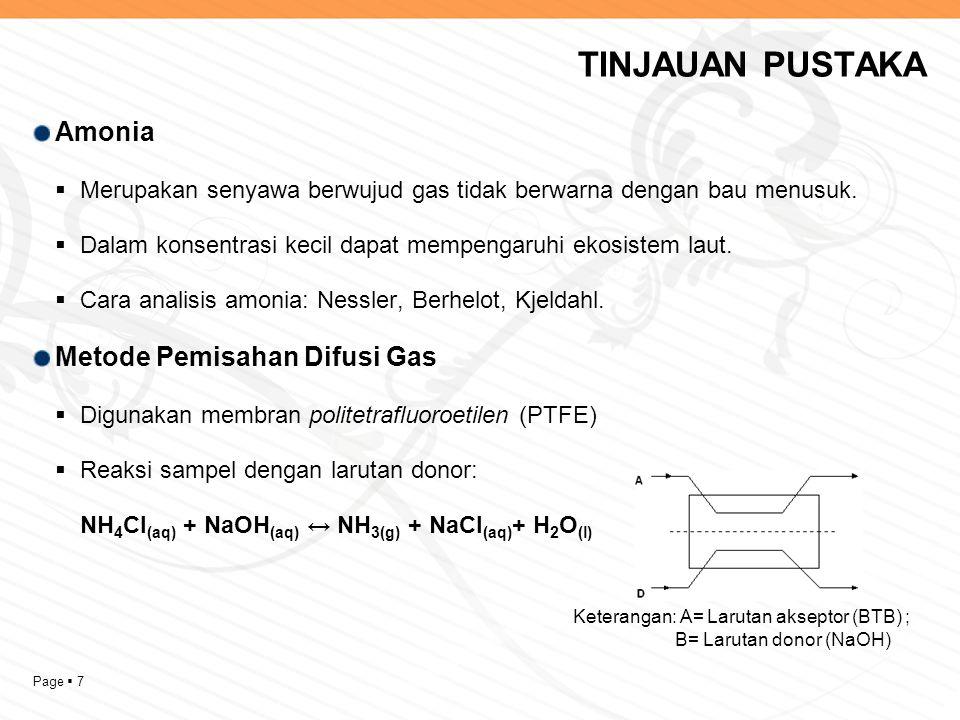 Page  7 TINJAUAN PUSTAKA Amonia  Merupakan senyawa berwujud gas tidak berwarna dengan bau menusuk.  Dalam konsentrasi kecil dapat mempengaruhi ekos