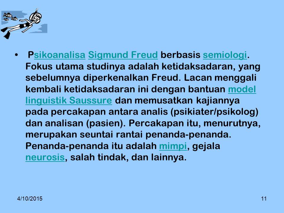 Psikoanalisa Sigmund Freud berbasis semiologi. Fokus utama studinya adalah ketidaksadaran, yang sebelumnya diperkenalkan Freud. Lacan menggali kembali