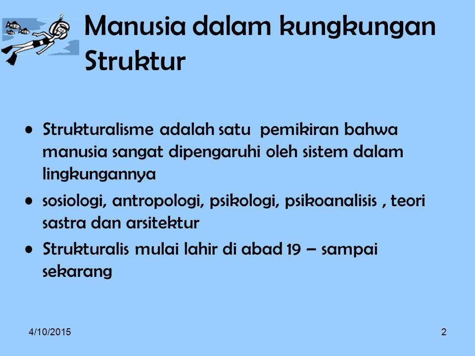 Alison Assiter, ada empat ide umum mengenai strukturalisme sebagai bentuk 'kecenderungan intelektual' Pertama, struktur menentukan posisi setiap elemen dari keseluruhan.