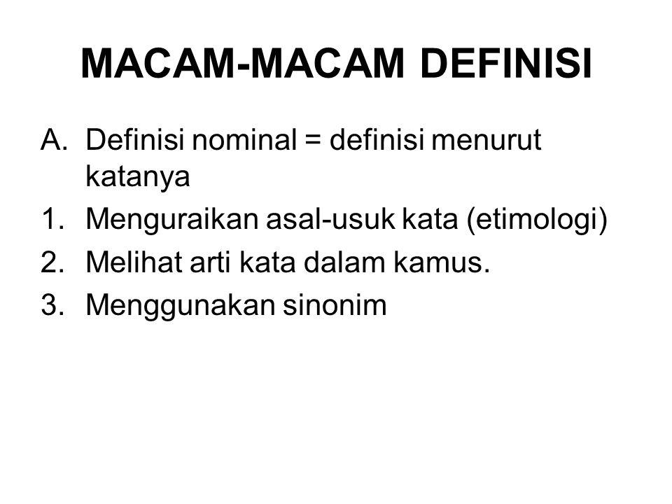 MACAM-MACAM DEFINISI A.Definisi nominal = definisi menurut katanya 1.Menguraikan asal-usuk kata (etimologi) 2.Melihat arti kata dalam kamus.
