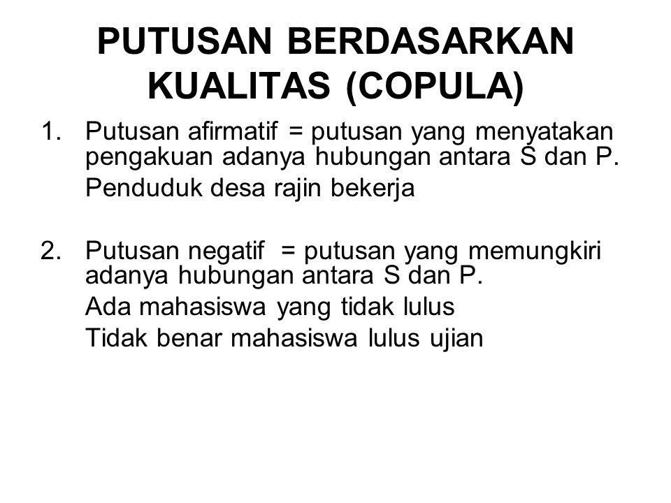 PUTUSAN BERDASARKAN KUALITAS (COPULA) 1.Putusan afirmatif = putusan yang menyatakan pengakuan adanya hubungan antara S dan P.
