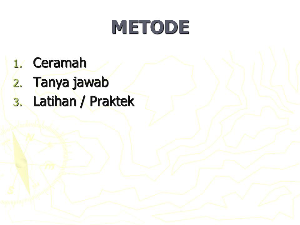 METODE 1. Ceramah 2. Tanya jawab 3. Latihan / Praktek