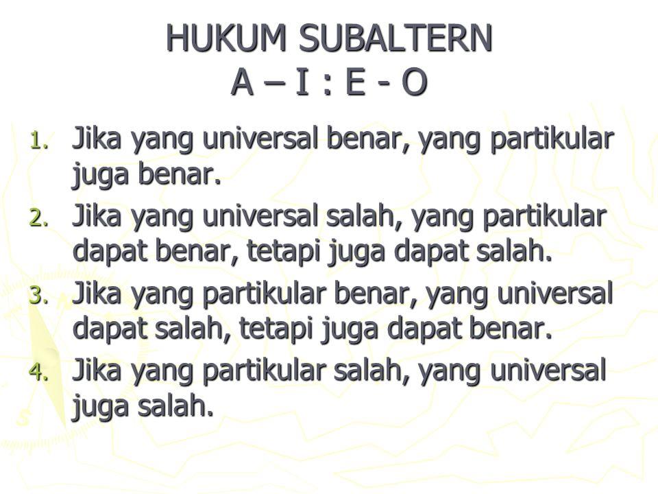 HUKUM SUBALTERN A – I : E - O 1.Jika yang universal benar, yang partikular juga benar.