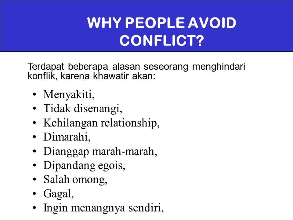 WHY PEOPLE AVOID CONFLICT? Menyakiti, Tidak disenangi, Kehilangan relationship, Dimarahi, Dianggap marah-marah, Dipandang egois, Salah omong, Gagal, I