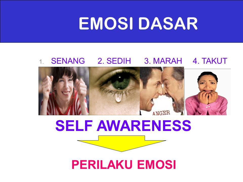 EMOSI DASAR 1. SENANG2. SEDIH3. MARAH4. TAKUT SELF AWARENESS PERILAKU EMOSI