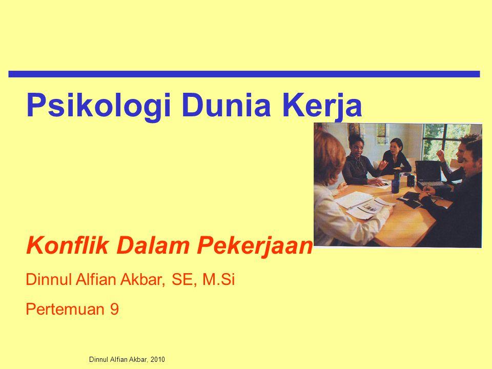 Dinnul Alfian Akbar, 2010 Konflik Dalam Pekerjaan Dinnul Alfian Akbar, SE, M.Si Pertemuan 9 Psikologi Dunia Kerja