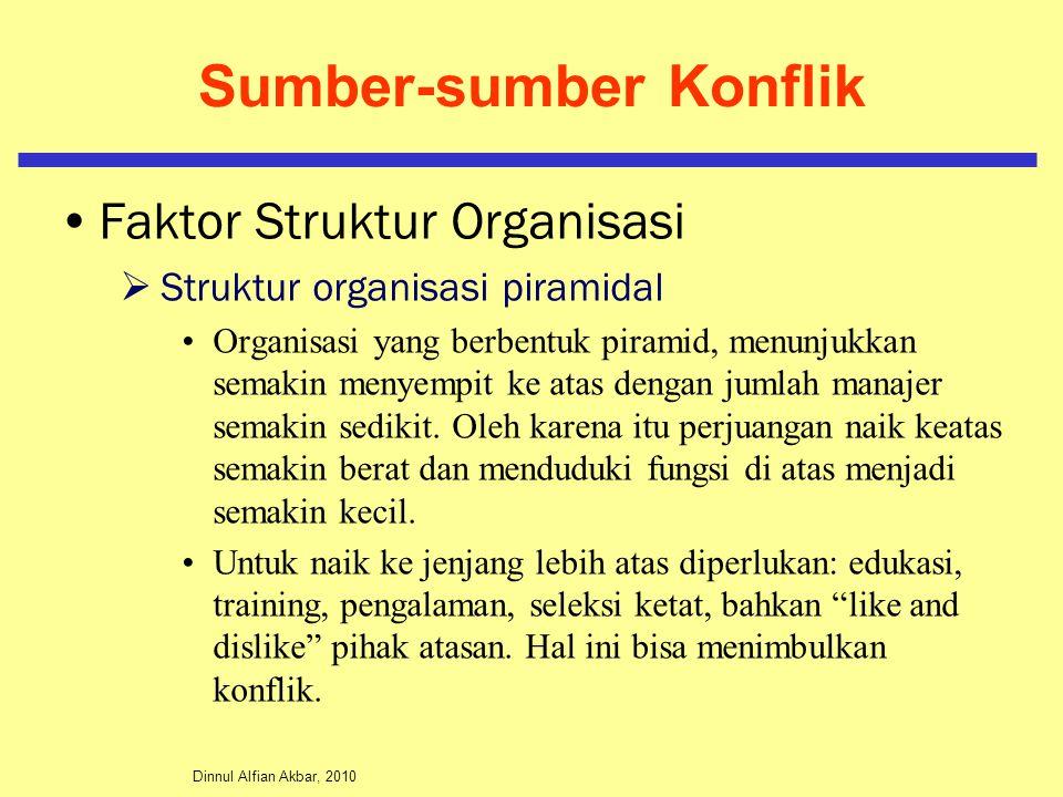 Dinnul Alfian Akbar, 2010 Sumber-sumber Konflik Faktor Struktur Organisasi  Struktur organisasi piramidal Organisasi yang berbentuk piramid, menunjuk