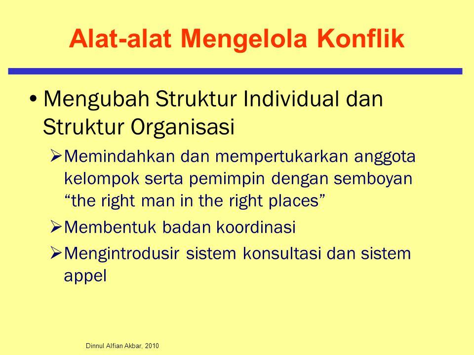 Dinnul Alfian Akbar, 2010 Alat-alat Mengelola Konflik Mengubah Struktur Individual dan Struktur Organisasi  Memindahkan dan mempertukarkan anggota ke