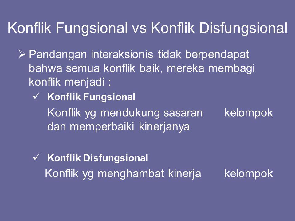 Konflik Fungsional vs Konflik Disfungsional  Pandangan interaksionis tidak berpendapat bahwa semua konflik baik, mereka membagi konflik menjadi : Kon