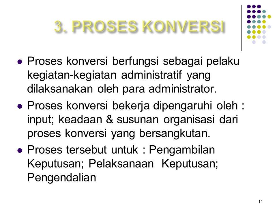 Proses konversi berfungsi sebagai pelaku kegiatan-kegiatan administratif yang dilaksanakan oleh para administrator.