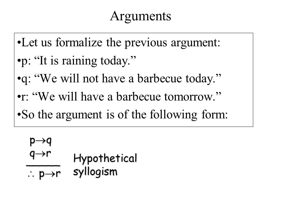 "Arguments Let us formalize the previous argument: p: ""It is raining today."" q: ""We will not have a barbecue today."" r: ""We will have a barbecue tomorr"