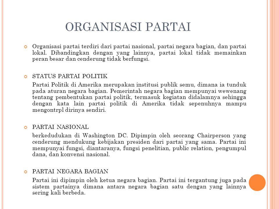 ORGANISASI PARTAI Organisasi partai terdiri dari partai nasional, partai negara bagian, dan partai lokal. Dibandingkan dengan yang lainnya, partai lok