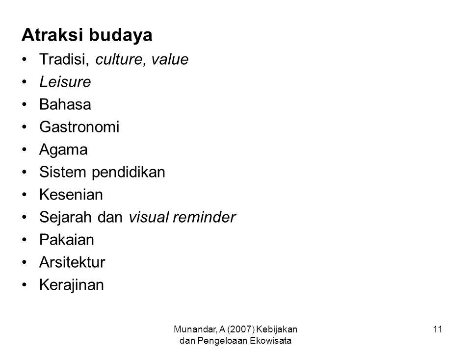 Munandar, A (2007) Kebijakan dan Pengeloaan Ekowisata 11 Atraksi budaya Tradisi, culture, value Leisure Bahasa Gastronomi Agama Sistem pendidikan Kesenian Sejarah dan visual reminder Pakaian Arsitektur Kerajinan