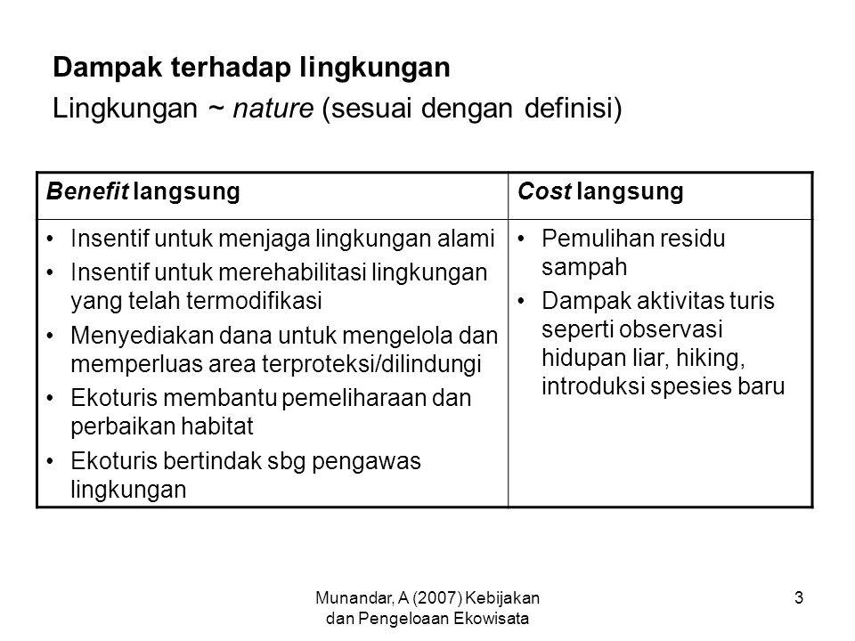 Munandar, A (2007) Kebijakan dan Pengeloaan Ekowisata 3 Dampak terhadap lingkungan Lingkungan ~ nature (sesuai dengan definisi) Benefit langsungCost langsung Insentif untuk menjaga lingkungan alami Insentif untuk merehabilitasi lingkungan yang telah termodifikasi Menyediakan dana untuk mengelola dan memperluas area terproteksi/dilindungi Ekoturis membantu pemeliharaan dan perbaikan habitat Ekoturis bertindak sbg pengawas lingkungan Pemulihan residu sampah Dampak aktivitas turis seperti observasi hidupan liar, hiking, introduksi spesies baru