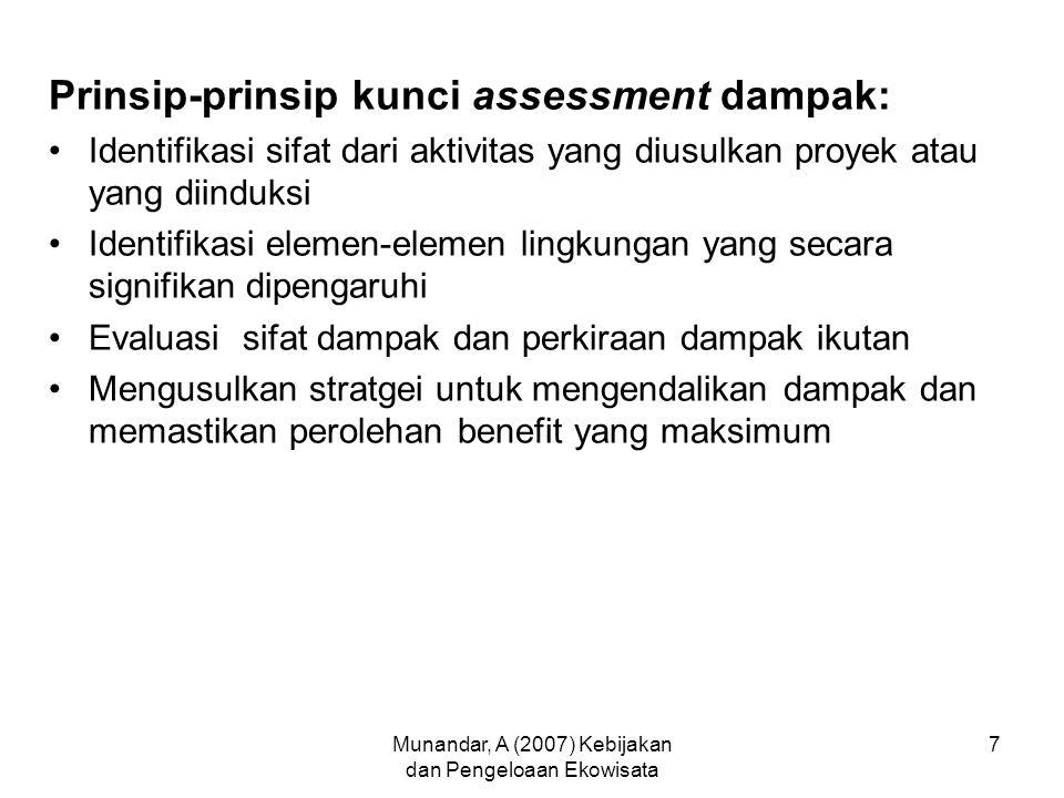 Munandar, A (2007) Kebijakan dan Pengeloaan Ekowisata 7 Prinsip-prinsip kunci assessment dampak: Identifikasi sifat dari aktivitas yang diusulkan proyek atau yang diinduksi Identifikasi elemen-elemen lingkungan yang secara signifikan dipengaruhi Evaluasi sifat dampak dan perkiraan dampak ikutan Mengusulkan stratgei untuk mengendalikan dampak dan memastikan perolehan benefit yang maksimum