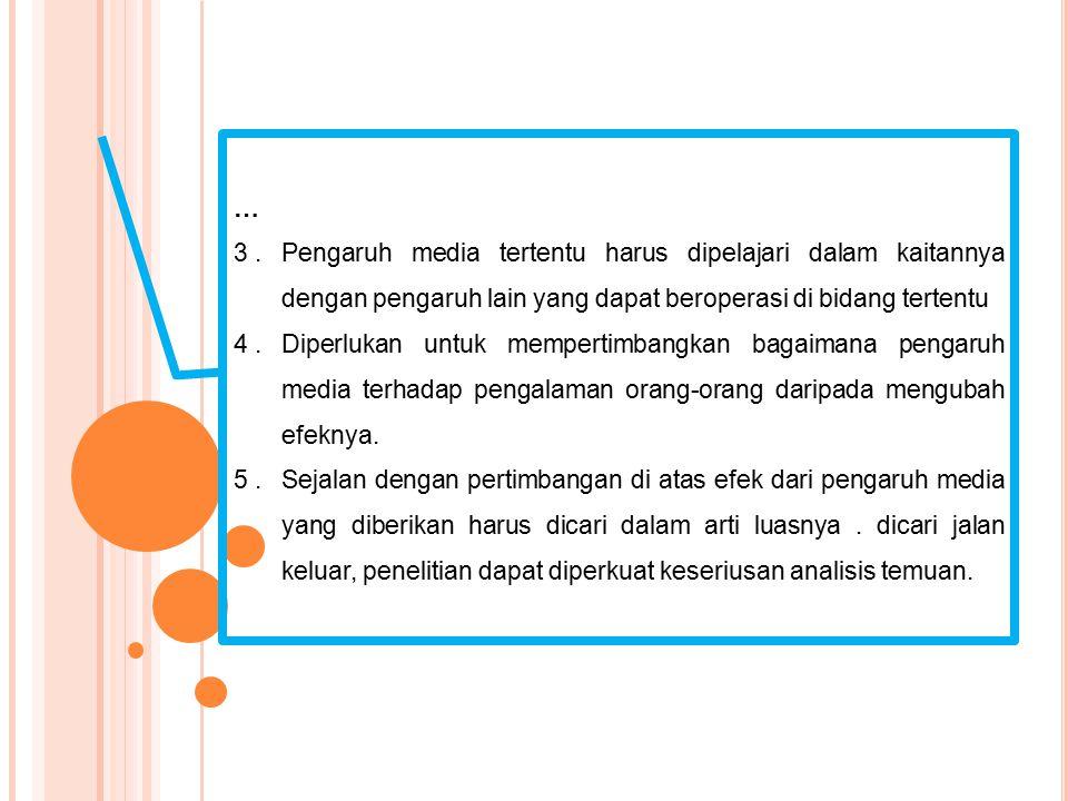 … 3.Pengaruh media tertentu harus dipelajari dalam kaitannya dengan pengaruh lain yang dapat beroperasi di bidang tertentu 4.Diperlukan untuk memperti