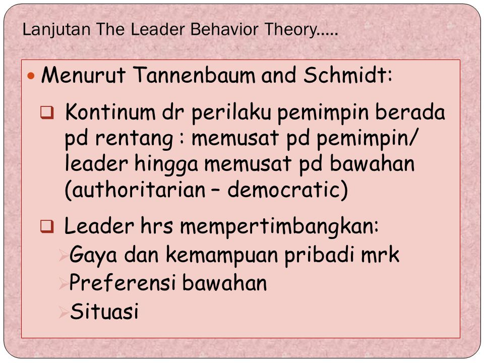 Lanjutan The Leader Behavior Theory.....
