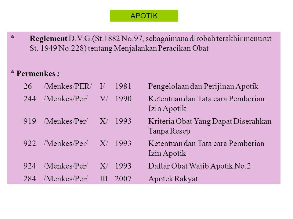 APOTIK Keputusan Menteri Kesehatan (Kepmenkes) = K 278/Menkes/SK/V1981Persyaratan Apotik 279/Menkes/SK/V1981Ketentuan dan Tatacara Perizinan Apotik 280/Menkes/SK/V1981Ketentuan dan Tatacara Pengelolaan Apotik 347/Menkes/SK/VII1990Obat Wajib Apotik 1176/Menkes/SK/X1999Daftar OWA no 3 1332/Menkes/SK/X2002Perubh.