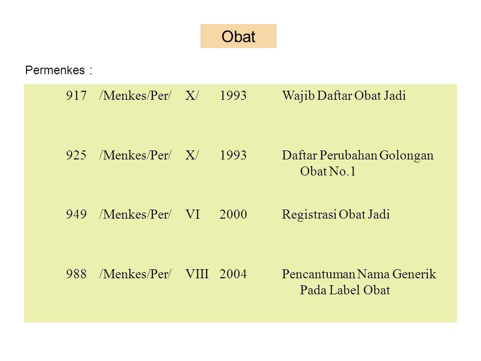 Keputusan Menteri Kesehatan (Kepmenkes) = K 2380A/SK/VI83Tanda Khusus OB dan OBT 02396A/SK/VIII86Tanda khusus Obat Keras Daftar G 242/MEN.KES/SK/V1990Wajib Daftar Obat Jadi 068/Menkes/SK/II2006Pedoman pelaks Pencantuman Nama Generik Pada Label Obat 069/Menkes/SK/II2006Pencantuman HET Pada Label Obat PO.00.04.5.00.003271994Bentuk dan Tatacara Pemberian Stiker Pendaftaran pd OT asing Keputusan Kepala Badan Pengawas Obat dan Makanan HK.00.05.3.027062002Promosi obat HK.00.05.23.