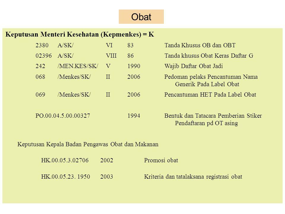 no.167/Kab/B.VIII/1972ttgPedagang Eceran Obat Keputusan Menteri Kesehatan (Kepmenkes) no.