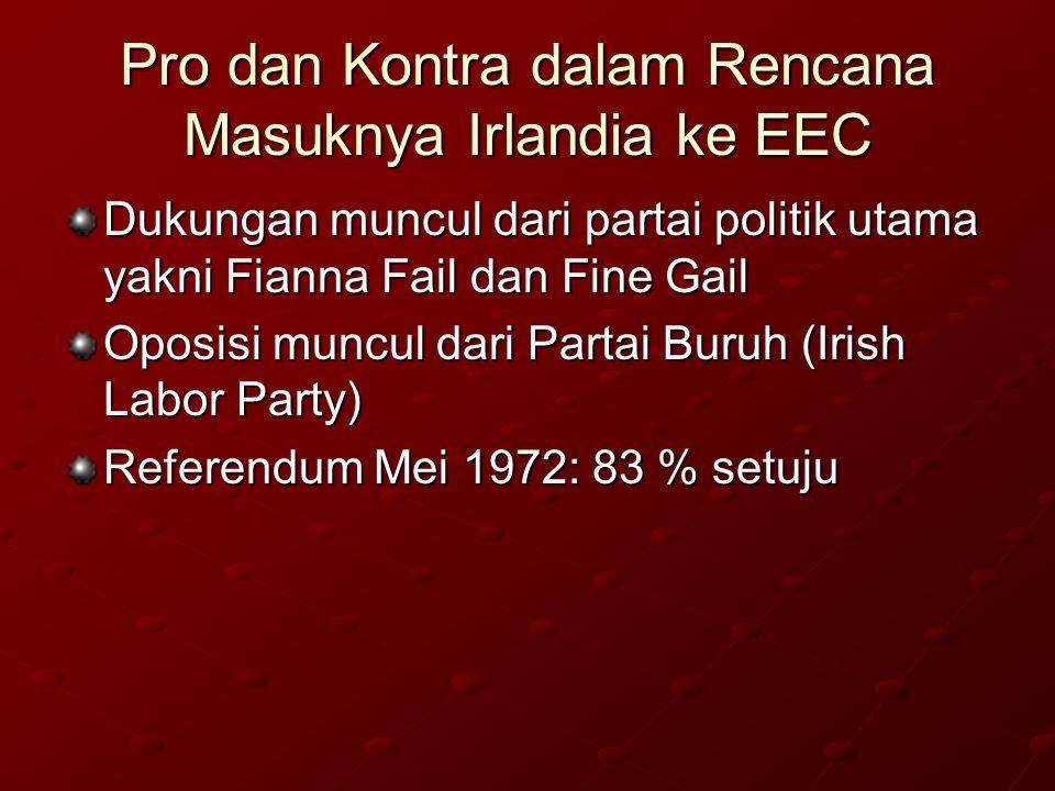 Pro dan Kontra dalam Rencana Masuknya Irlandia ke EEC Dukungan muncul dari partai politik utama yakni Fianna Fail dan Fine Gail Oposisi muncul dari Partai Buruh (Irish Labor Party) Referendum Mei 1972: 83 % setuju