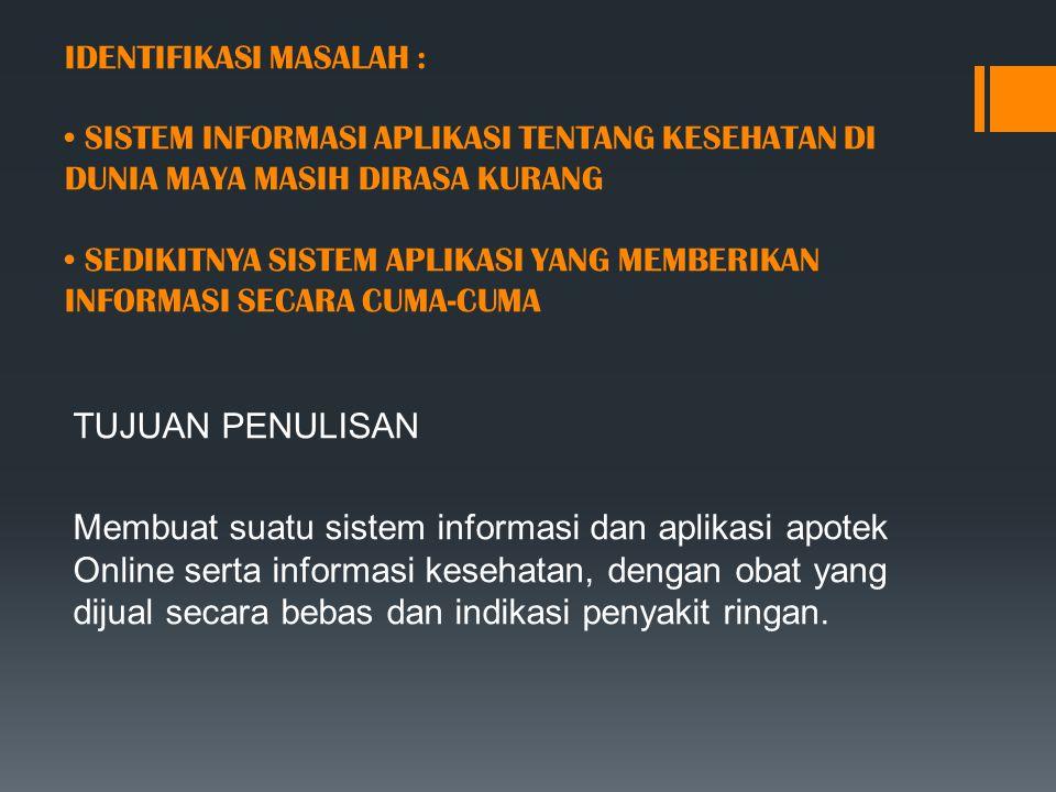 IDENTIFIKASI MASALAH : SISTEM INFORMASI APLIKASI TENTANG KESEHATAN DI DUNIA MAYA MASIH DIRASA KURANG SEDIKITNYA SISTEM APLIKASI YANG MEMBERIKAN INFORM