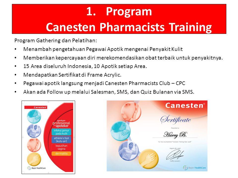 1.Program Canesten Pharmacists Training Program Gathering dan Pelatihan: Menambah pengetahuan Pegawai Apotik mengenai Penyakit Kulit Memberikan keperc