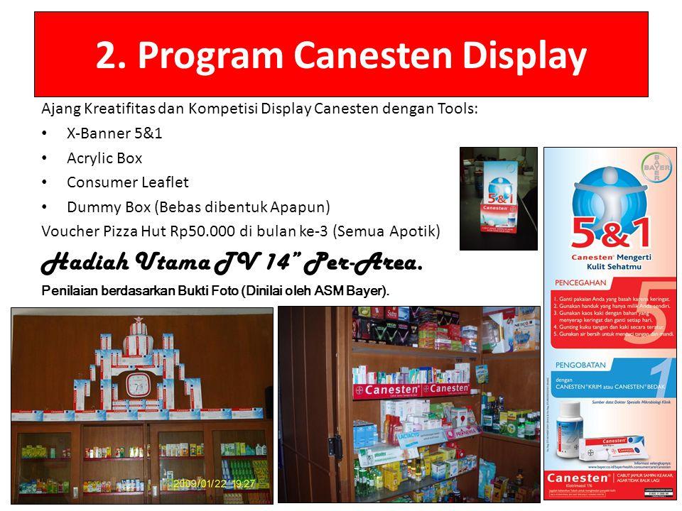 2. Program Canesten Display Ajang Kreatifitas dan Kompetisi Display Canesten dengan Tools: X-Banner 5&1 Acrylic Box Consumer Leaflet Dummy Box (Bebas