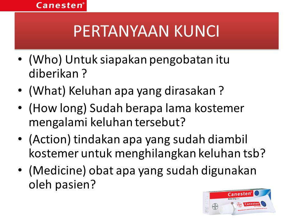 PERTANYAAN KUNCI (Who) Untuk siapakan pengobatan itu diberikan ? (What) Keluhan apa yang dirasakan ? (How long) Sudah berapa lama kostemer mengalami k