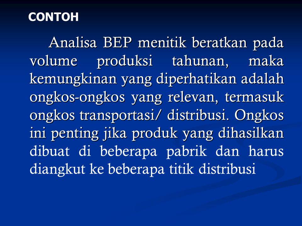 Analisa BEP menitik beratkan pada volume produksi tahunan, maka kemungkinan yang diperhatikan adalah ongkos-ongkos yang relevan, termasuk ongkos trans