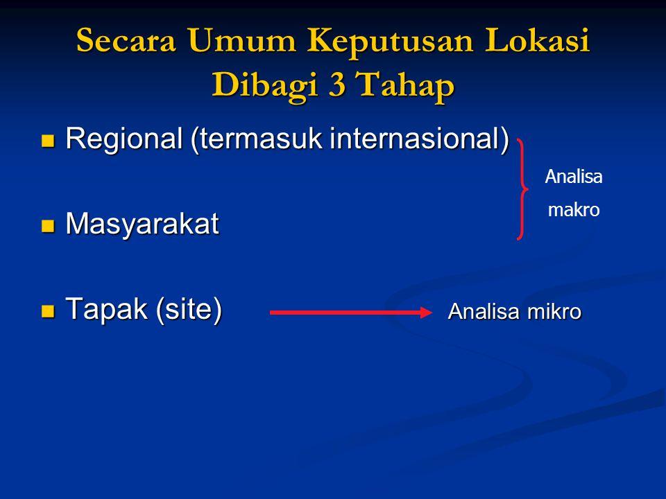 Secara Umum Keputusan Lokasi Dibagi 3 Tahap Regional (termasuk internasional) Regional (termasuk internasional) Masyarakat Masyarakat Tapak (site) Ana